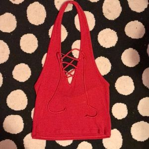 Red ribbed Halter